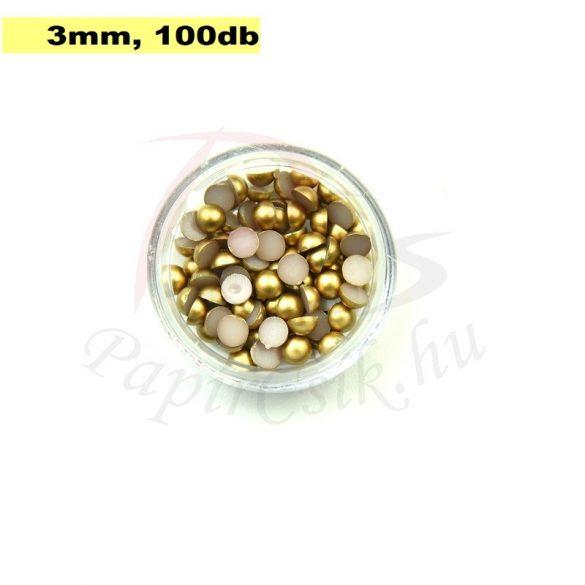 Kunststoff-Halbkugelperle, gold (3mm, 100 Stück)