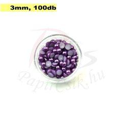 Kunststoff-Halbkugelperle, lila (3mm, 100 Stück)