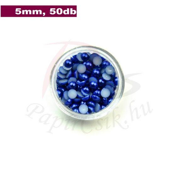 Kunststoff-Halbkugelperle, dunkelblau (5mm, 50 Stück)