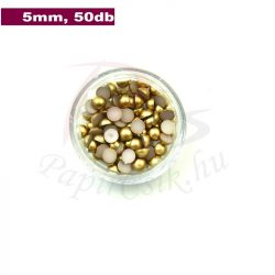 Kunststoff-Halbkugelperle, gold (5mm, 50 Stück)