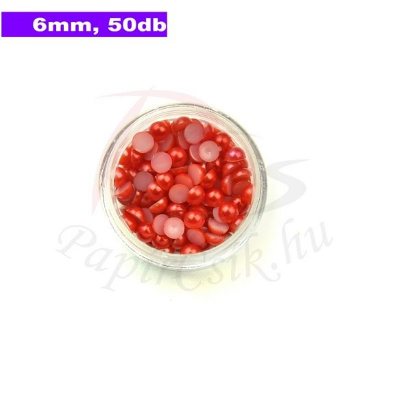 Kunststoff-Halbkugelperle, rot (6mm, 50 Stück)
