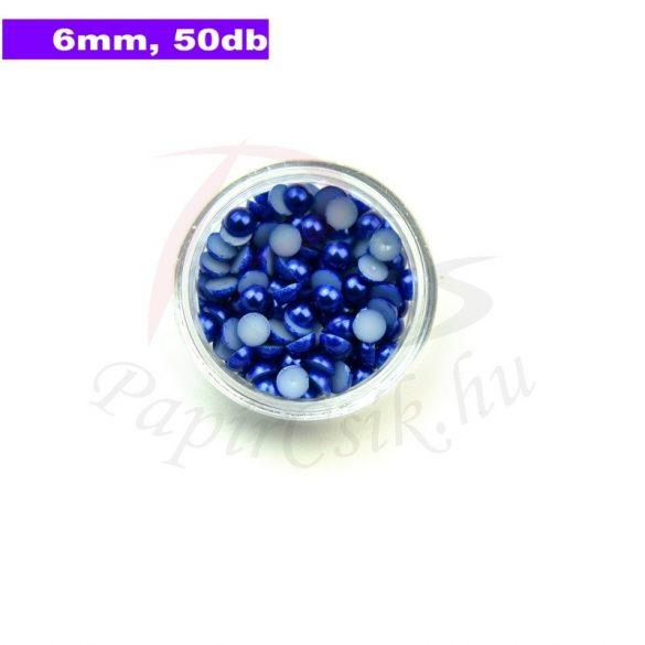 Kunststoff-Halbkugelperle, dunkelblau (6mm, 50 Stück)