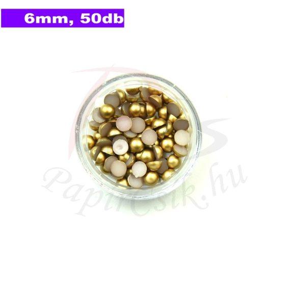 Kunststoff-Halbkugelperle, gold (6mm, 50 Stück)