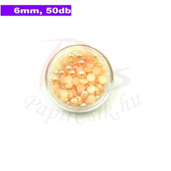 Kunststoff-Halbkugelperle, pfirsich (6mm, 50 Stück)