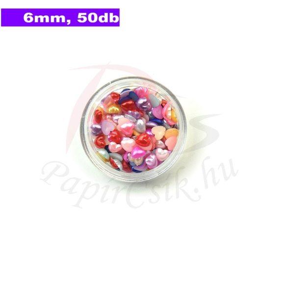 Műanyag szív alakú félgyöngy (vegyes szín, 6mm, 50 Stück)