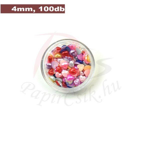 Műanyag szív alakú félgyöngy (vegyes szín, 4mm, 100 Stück)