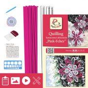 Pink-Weiß - Quilling Muster (200 Stück Streifen, Beschreibung, Werkzeuge)