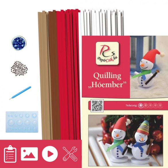 Schneemann - Quilling Muster (260 Stück Streifen, Beschreibung, Werkzeuge)