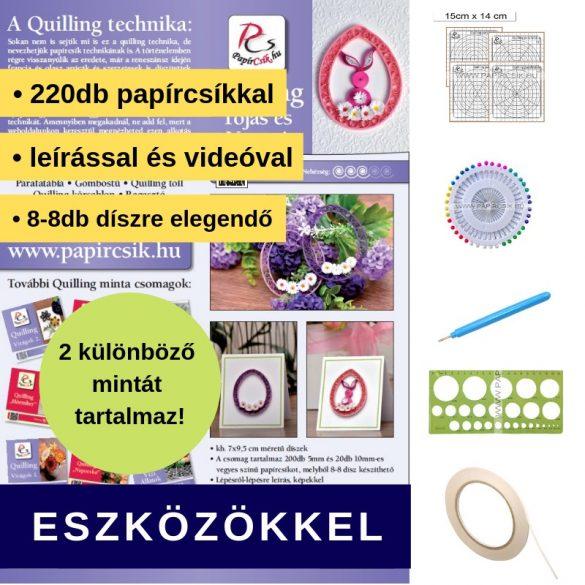 Ei und Hase - Quilling Muster (220 Stück Streifen, Beschreibung, Werkzeuge)