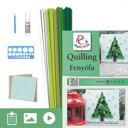 Tannenbaum - Quilling Muster (60 Stück Streifen und Beschreibung, Werkzeuge)