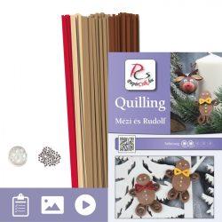 Lebkuchen und Ren Rudolf - Quilling Muster (170 Stück Streifen und Beschreibung mit Bilder)