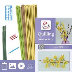 Goldener Strauch - Quilling Muster (170 Stück Streifen, Beschreibung, Werkzeuge)