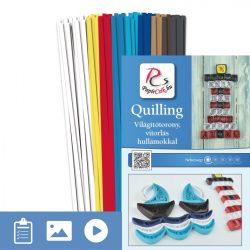 Leuchtturm, Segelboot mit Wellen - Quilling Muster (150 Stück Streifen und Beschreibung mit Bilder)