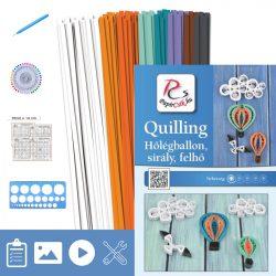 Heißluftballon, Möwe, Wolke - Quilling Muster (200 Stück Streifen, Beschreibung, Werkzeuge)