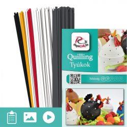 Hühner - Quilling Muster (180 Stück Streifen und Beschreibung mit Bilder)
