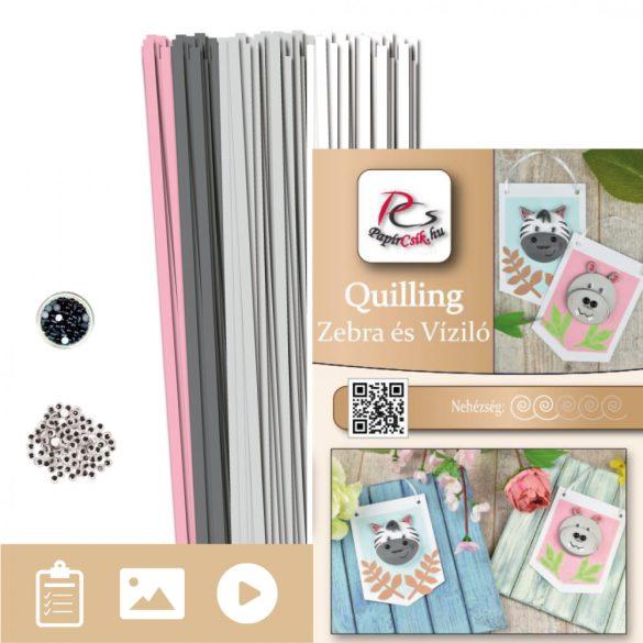 Zebra und Nilpferd - Quilling Muster (190 Stück Streifen und Beschreibung mit Bilder)