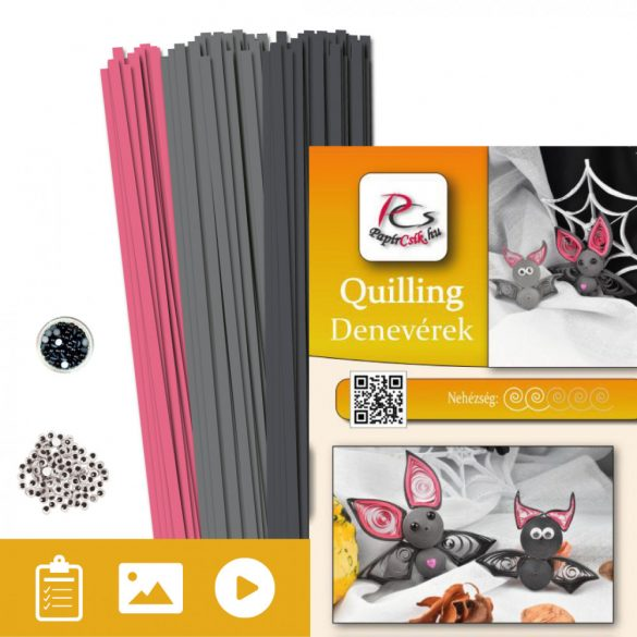 Fledermaus - Quilling Muster (200 Stück Streifen und Beschreibung mit Bilder)