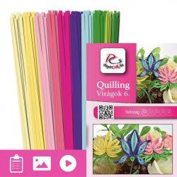 Virágok 6. - Quilling minta (210db csík 6-6db mintához és leírás képekkel)