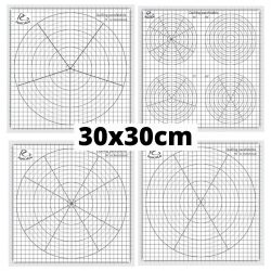 Quilling Schablonen Papier – 30, 60, 72 umd diverse Grad Aufteilung (4 Stück, 30 x 30 cm)